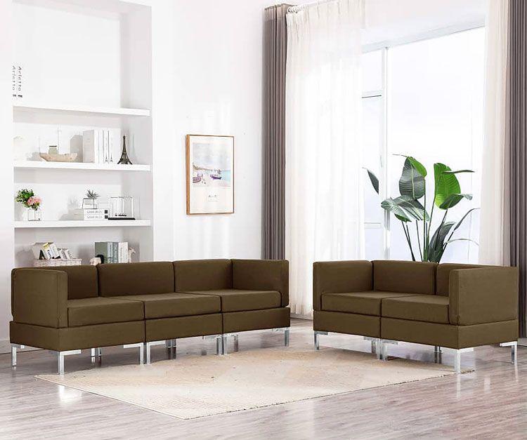 Brązowy tapicerowany zestaw wypoczynkowy do salonu Marsala 2X