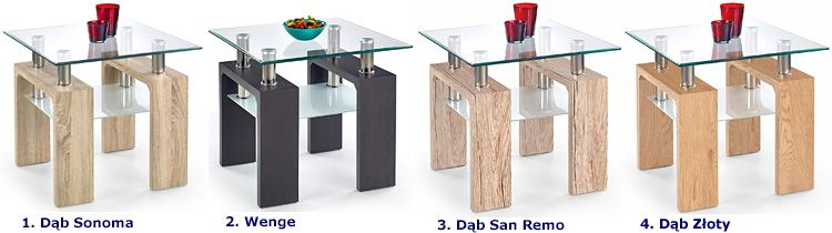 Szklany stolik kawowy kwadratowy Karis 2X