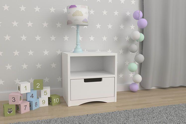 Nowoczesna biała szafa nocna z półką i szufladą Pinokio 5X