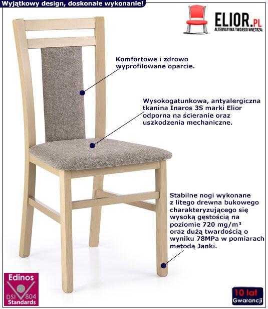 Drewniane tapicerowane krzesło w kolorze dąb sonoma Thomas