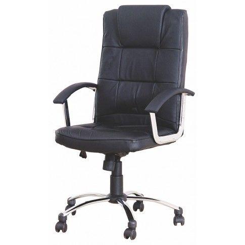 Zdjęcie produktu Skórzany fotel obrotowy Robzen - czarny.
