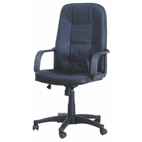 Zdjęcie produktu Skórzany fotel obrotowy Zabir - czarny.