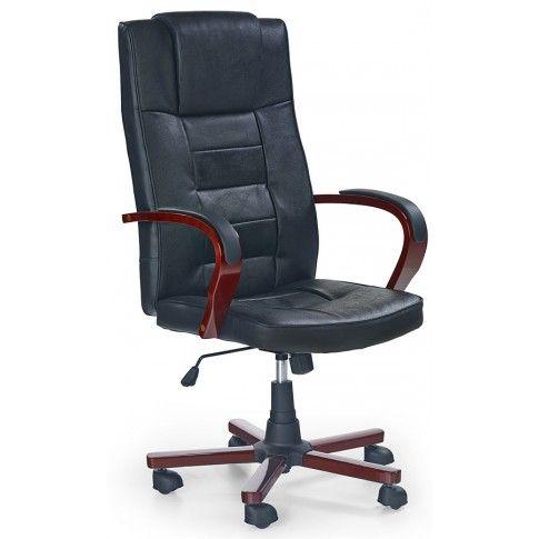 Zdjęcie produktu Skórzany fotel obrotowy Sedan - czarny.