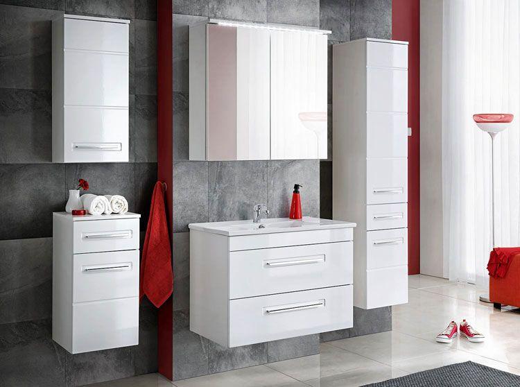Zestaw mebli łazienkowych podwieszanych biały połysk Oriana