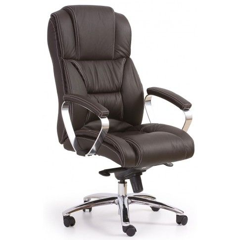 Zdjęcie produktu Skórzany fotel obrotowy Tenar - brązowy.