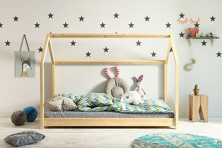 Drewniane łóżko w kształcie domku Olaf - sosnowe
