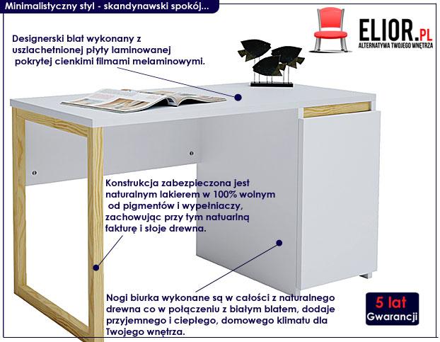 białe biurko z szafką Inelo X4