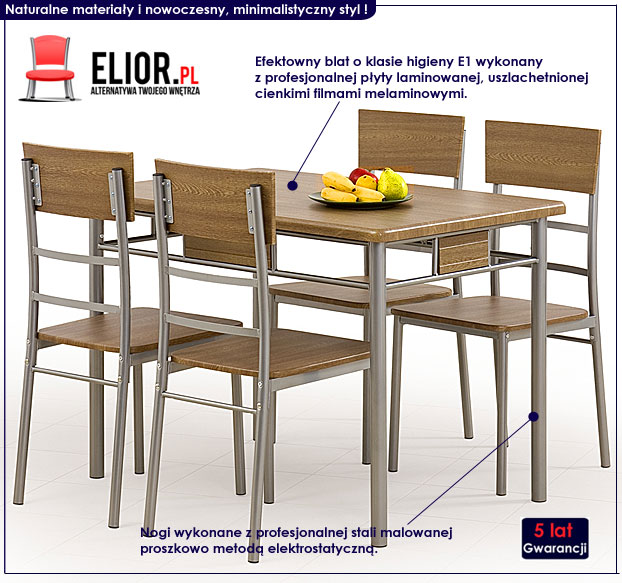 zestaw stół + krzesła Dastin