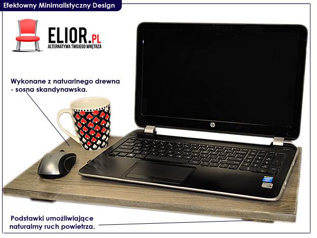 stolik pod laptopa drewniany Deries biały, czarny