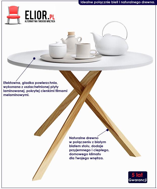 okrągły biały stolik kawowy Inelo L6