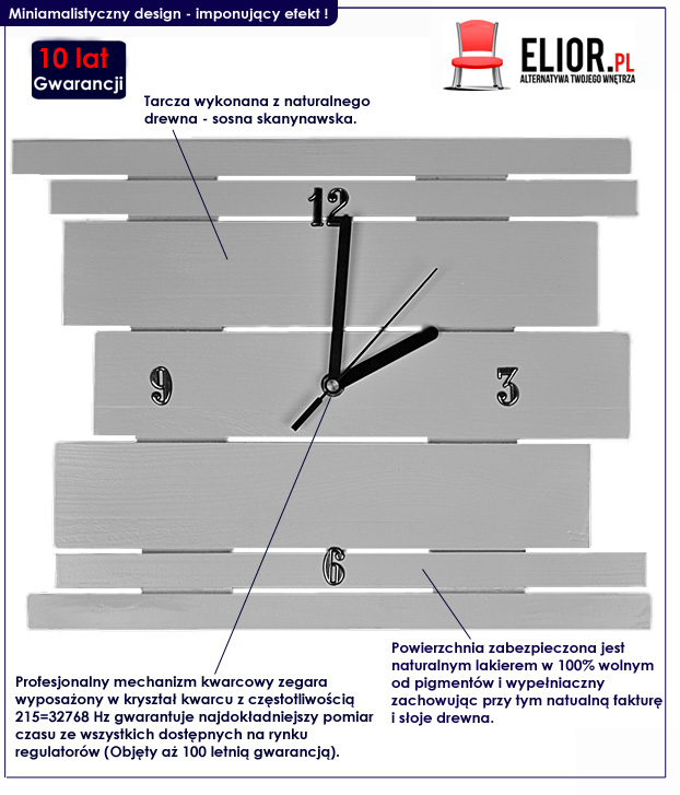 zegar na ścianę drewniany Liptos