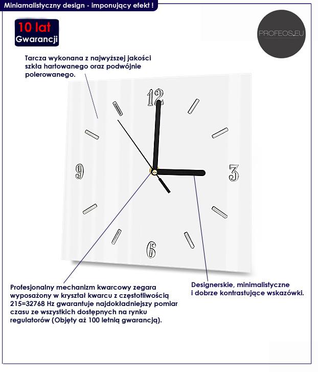 kwadratowy zegar ścienny Liptos 3R biały
